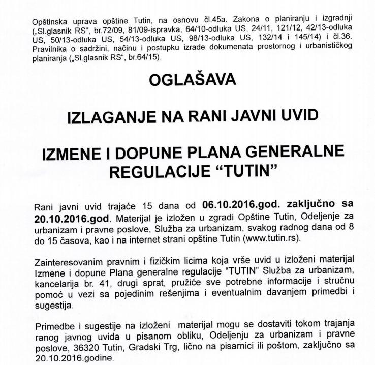"""Rani javni uvid izmene i dopune plana generalne reulacije """"Tutin"""""""