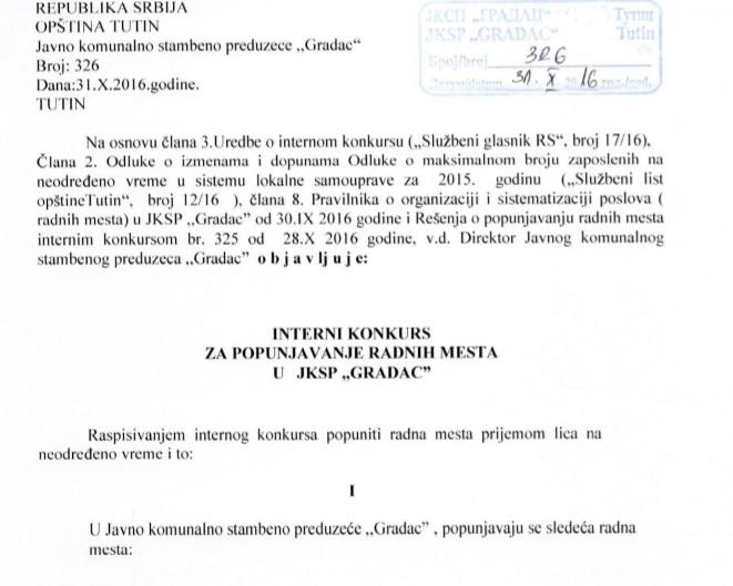 """Interni konkurs za opunjavanje radnih mesta u JKSP """"GRADAC"""""""