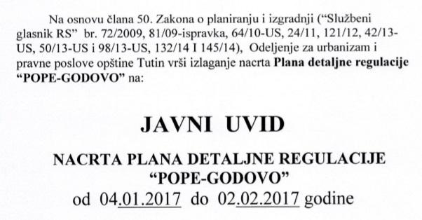 """Javni uvid nacrta plana detaljne regulacije """"Pope-Godovo"""""""