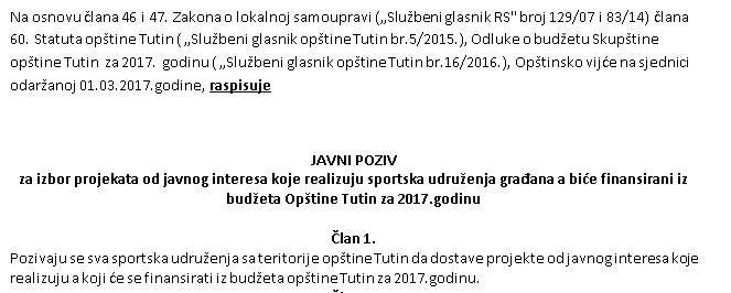 JAVNI POZIV-za izbor projekata od javnog interesa koje realizuju sportska udruženja građana a biće finansirani iz budžeta Opštine Tutin za 2017.godinu