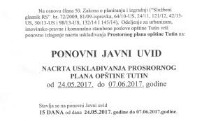 Ponovni javni uvid nacrta usklađivanja prostornog plana opštine Tutin