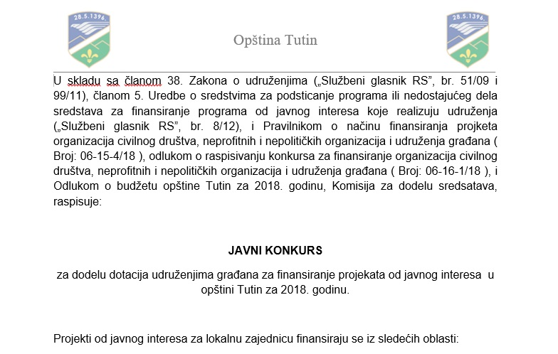 JAVNI KONKURS za dodelu dotacija udruženjima građana za finansiranje projekata od javnog interesa  u opštini Tutin za 2018. godinu.
