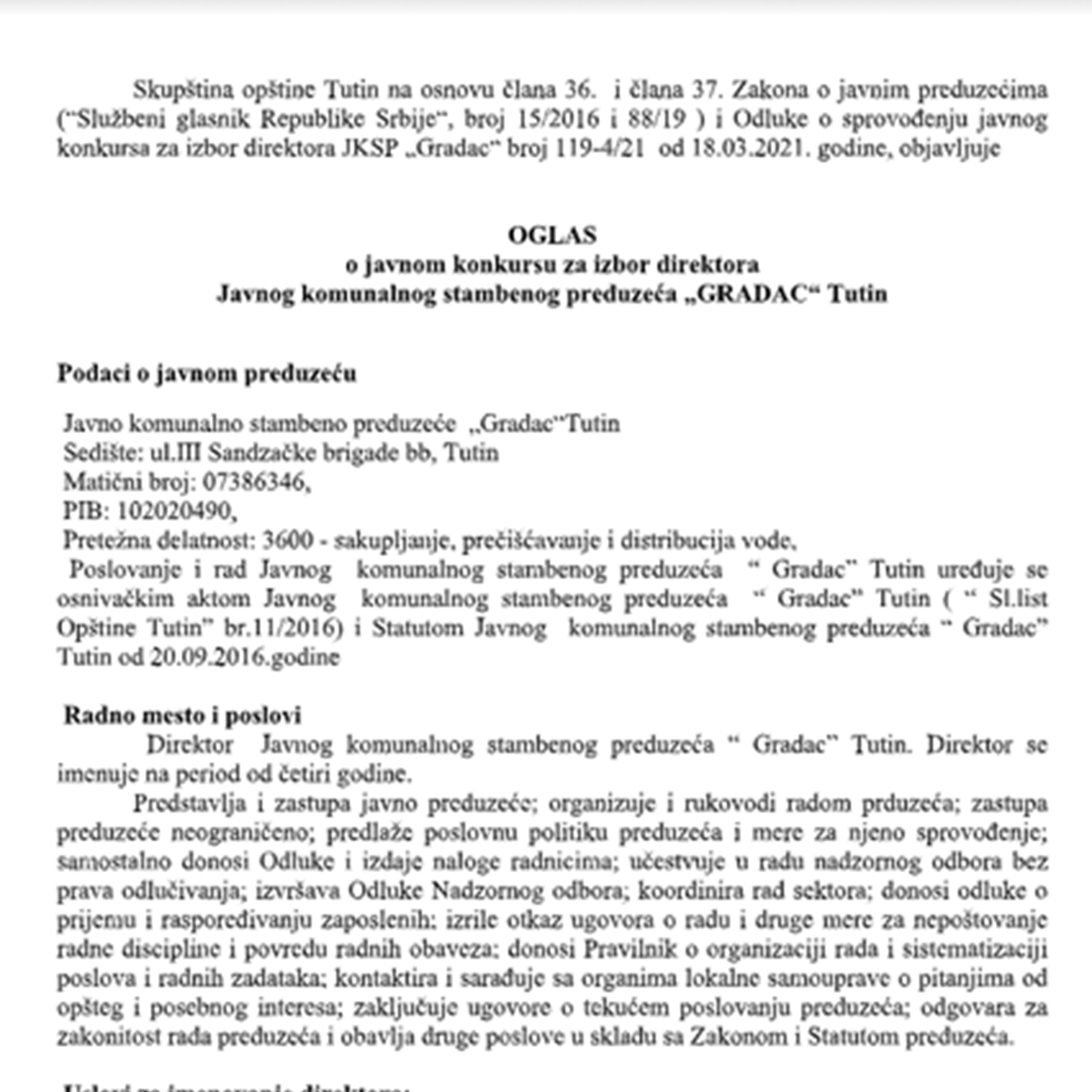 """OGLAS  o javnom konkursu za izbor direktora  Javnog komunalnog stambenog preduzeća """"GRADAC"""" Tutin"""