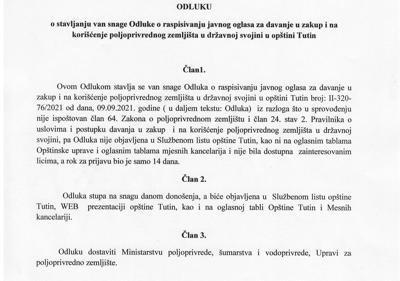 ODLUKA o stavljanju van snage Odluke o raspisivanju javnog oglasa za davanje u zakup i na korišćenje poljoprivrednog zemljišta u državnoj svojini u opštini Tutin