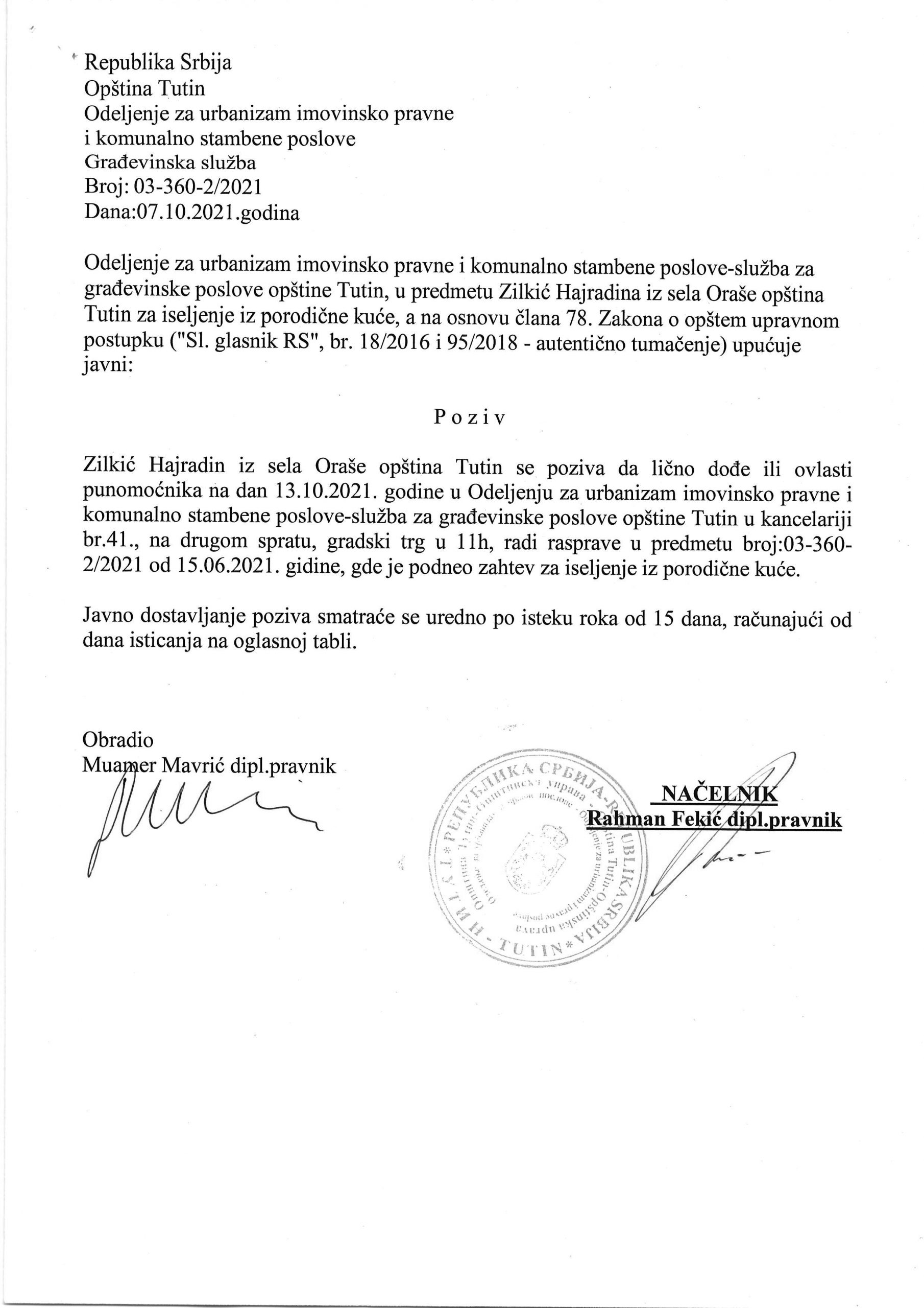 Poziv Zilkić Hajradin